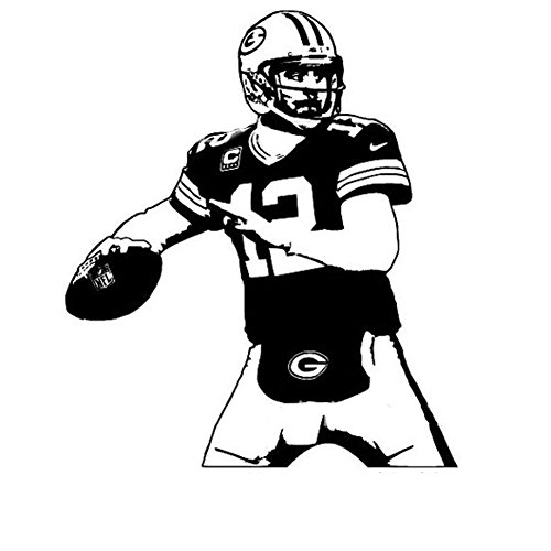 Fangeplus(R)DIY Removable Aaron Rodgers Rugby Player Art Mural Vinyl Waterproof Wall Stickers Kids Room Decor Nursery Decal Sticker - Rugby Wallpaper Black All