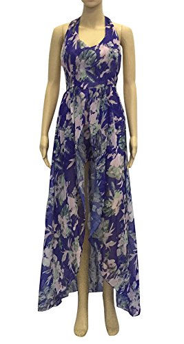 Maxi Sexy Dresses Straps Long Plus Purple Size Floral Backless High Women's Spaghetti Beach Low 4qwA88f