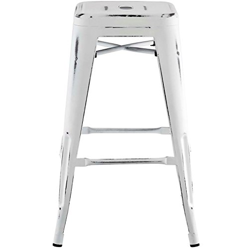 Modern Urban Industrial Distressed Antique Vintage Counter Stool Chair ( Set of 2), White, Metal by America Luxury - Stools (Image #3)