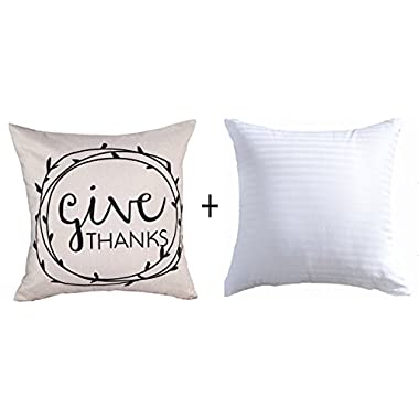Personalized Give Thanks Thanksgiving Gifts Cotton Linen Throw Pillow Insert Pillow Case Cushion Cover Pillow Inner Home Office Sofa Car Decorative Square 18 X 18 Inches