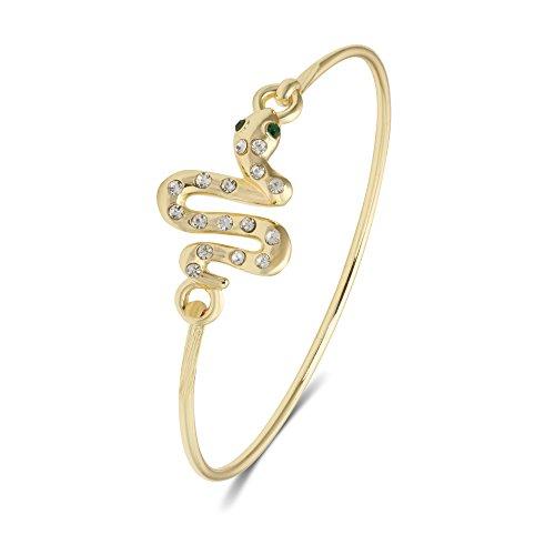 PANGRUI Elegant Snake Body Charm Curve Adjustable Hook Button Bracelet Color Diamond Bracelet (Gold)