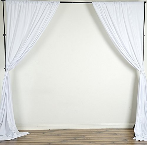 (luvfabrics 2 (Two) Curtains 5 feet Wide x 10 feet high Polyester Backdrop Drapes Curtains Panels - Wedding Ceremony Party Home Window Decorations (White))