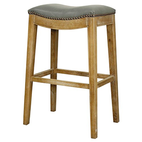 New Pacific Direct 358631B-V04-WS Elmo Bonded Leather Bar Stool, Vintage Gray