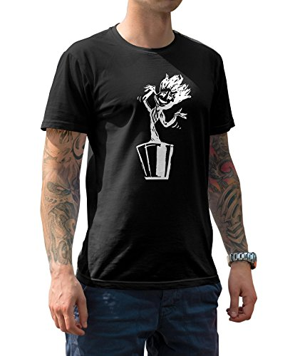 Mens White Dancing Groot Halloween Shirt | Black, L