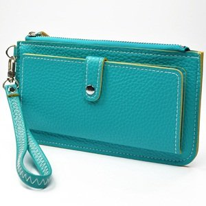 KLOUD City® Blue synthetic leather leechee pattern women wallet with an outer pocket