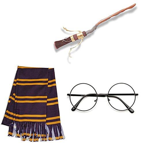 Harry Potter Accesory Kit: Glasses, Firebolt Broom and (Harry Potter Toy Broom)