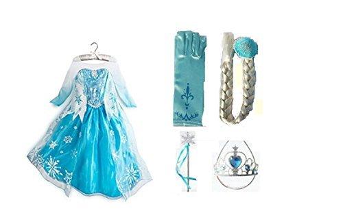 Frozen Dress-Deluxe Elsa Dress-Up PACKAGE-Includes Dress & Accessories (2T/3T (100))]()