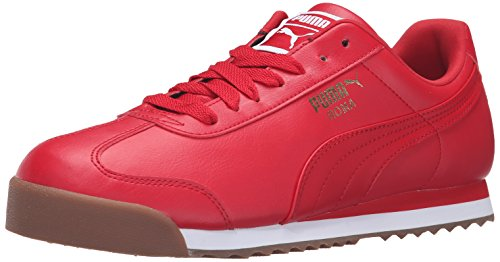 Plain Leather Basic - PUMA Men's Roma Basic Fashion Sneaker, Barbados Cherry/Puma White - 9 D(M) US