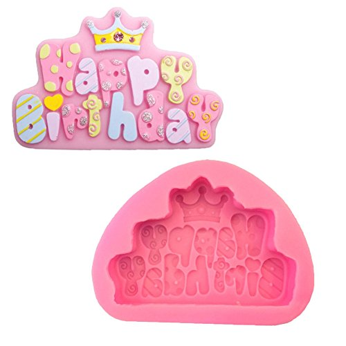 Creative Crown happybirthday Silicone Molds for Cake Fondant DIY Chocolate Mousse Cookie Baking Biscuit Decoration Tools( Pack of 2)