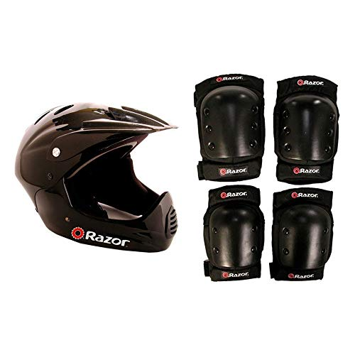 - Razor Youth Full Face Riding Sport Scooter Helmet, Black + Elbow and Knee Pads
