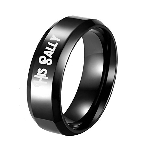 Wintefei His Sally Her Jack Titanium Steel Romantic Matching Couple Ring Lovers Gift- US 7 Women's