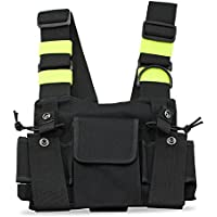 SODIAL Radios Pocket Radio Chest Harness Chest Front Pack Pouch Holster Vest Rig Carry Case for 2 Way Radio Walkie Talkie Baofeng UV-5R Black+Yellow