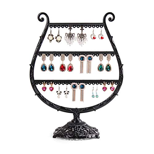 (ROBAG Jewelry Stand Metal Jewelry Organizer High-End Jewelry Props Creative Wine Glass Earring Holder Ear Clip Holder Jewelry Display Stand Zinc Alloy Black)