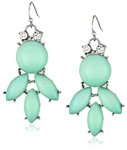 Mint Cabochon and Crystal in Rhodium Simple Drop Earrings