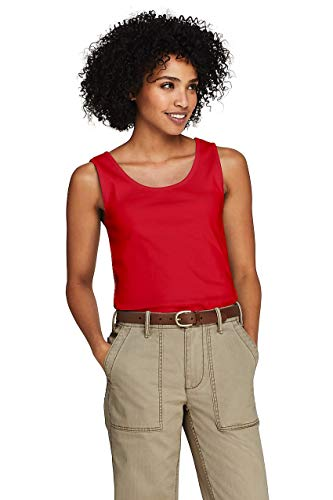 Lands' End Women's Petite Cotton Tank Top Bright Cherry