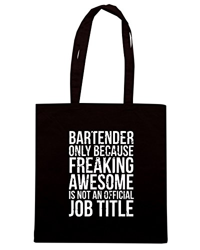 T-Shirtshock - Bolsa para la compra BEER0165 Bartender - Only Because Freaking Awesome is Not a Job Title Negro
