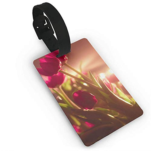 - Pejer Unisex Travel Luggage ID Tags Flowers Tulips Pattern Suitcase Label Carry On Cards Business Card Holder