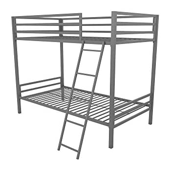 Novogratz Maxwell Twin Twin Metal Bunk Bed Sturdy Metal Frame With Ladder And Safety Rails Grey