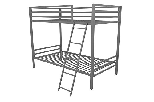 Novogratz Maxwell Twin/Twin Metal Bunk Bed, Sturdy Metal Frame with Ladder and Safety Rails, - Twin Metal Bunk Bed