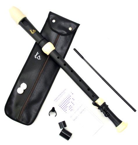 Tenor Blockflöte in Schwarz Beige Tenorflöte mit barocker Griffweise mit Etui und Zubehör