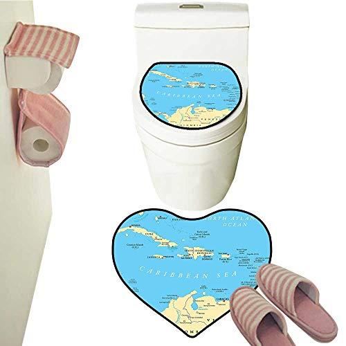Contour Rugs Combo Caribbean Political Map Capitals National Borders mportant Cities Rivers Lakes Toilet Mat Set Bathroom Accessories