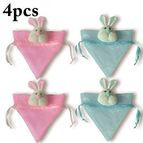 Coxeer Easter Candy Bag, 4Pcs Bunny Drawstring Gift Bags Organza Jewelry Pouches Wedding Favor Bags ()