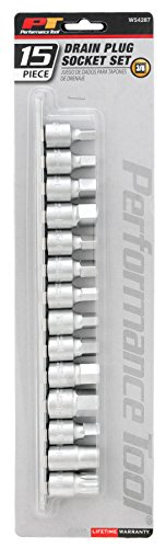 Performance Tool W54287 15-Piece Drain Plug Socket Set 11mm & 13mm Square Drive Subaru ()