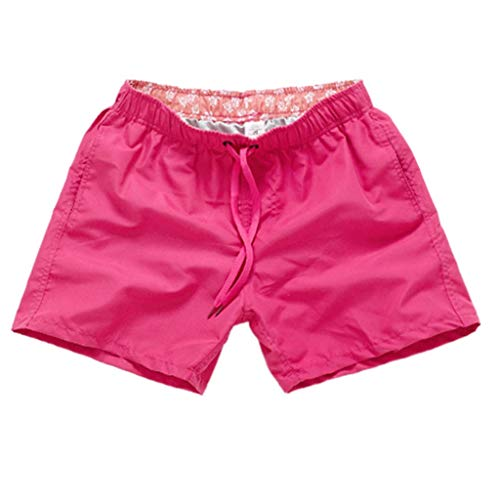 Willsa Mens Shorts, Pure Color Splice Stripe Beach Work Casual Men Short Trouser Shorts Pants Hot Pink