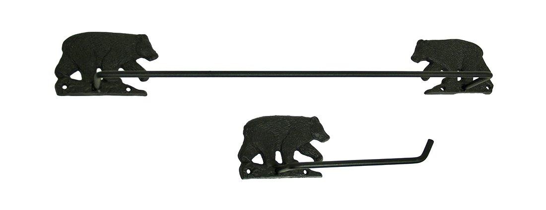 Metal Towel Racks 2 Pc. Black Bear Rustic Toilet Paper Holder and Towel Bar Set 23.5 X 3.5 X 3 Inches Black