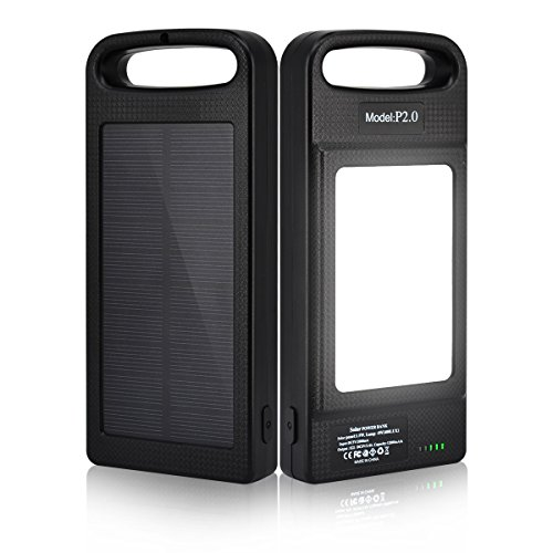 Solar Charger, D-FLIFE 12000mAh Solar Portable LED Power Battery Bank | Dual USB External Backup Battery Pack for Cell Phone,iOS, Android, Windows, GoPro Camera,GPS and More