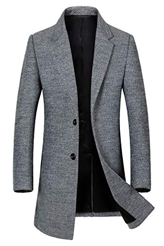 ELETOP Men's Classic Trench Coat Single Breasted Wool Walker Coat Winter Jacket 1810 Gray L Cashmere Single Breasted Suit