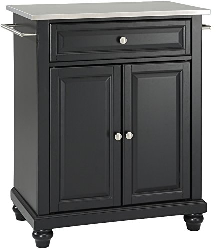 Crosley Furniture Cambridge Cuisine Kitchen Island with Stainless Steel Top – Black