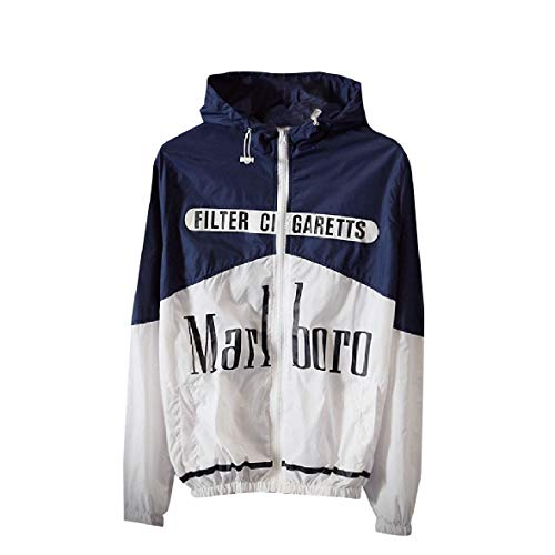 Color Printed Coats RkBaoye blue Men Hood Letters Navy Up Jacket Zip Splice Relaxed 644Fq5