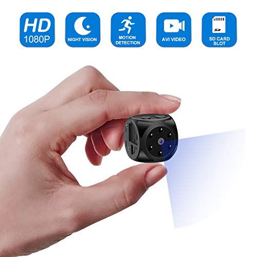 Built Pinhole In (Hidden Camera,Mini Spy Camera-1080P HD with Night Vision and Motion Detection,Built-in Magneti&Wearable,Perfect Indoor Spy Cam,Nanny Cam for Home,Car,Office)