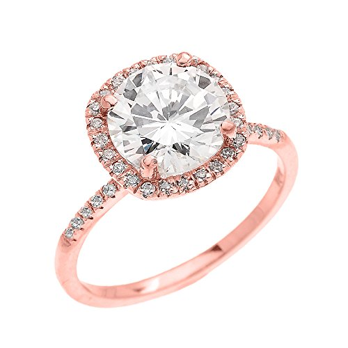 Dainty 14k Rose Gold Cushion Shape Halo 4 Carat Total Weight CZ Solitaire Engagement and Proposal Ring (Size 5.75) by CZ Engagement Rings (Image #3)'