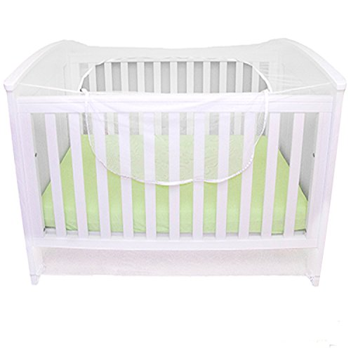 Premium Mosquito Net for Baby Crib, Cot Bed, Pack 'n Play, Playpens and playards, with Top Zipper for Quick, Easy Access to Baby, Universal Size, Portable Baby Insect Bug Netting, White