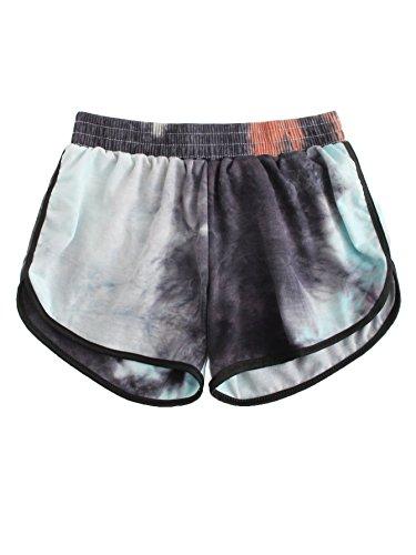 SweatyRocks Women's Summer Casual Tie Dye Multicolor Print Lounge Shorts (M=S(US 4-6), Black) by SweatyRocks