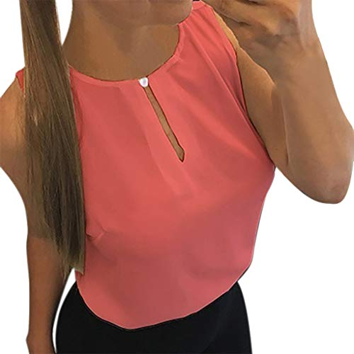 Independence Day Gift! Hormofy Women's Solid O-Neck Sleeveless Tank Tops Casual T-Shirts Vest ()