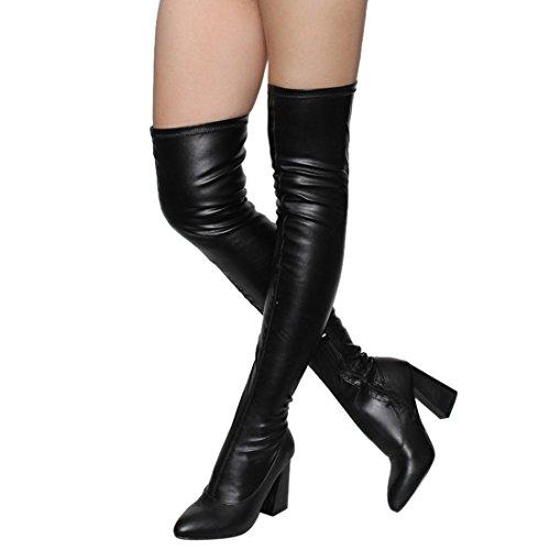 Beston FM29 Damen Stretchy Snug Fit Seitlicher Reißverschluss Oberschenkel Hohe Stiefel Halbe Größe Klein Schwarz Pu