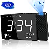 Projection Clock, HQQNUO FM Radio Alarm Clock 6.3'' LED Display with Dimmer 180° Adjustable Projector Dual Alarm with USB Charging Port Alarm Clock for Kids, Adults & Teens
