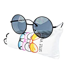 "V105-vp Style Vault 2"" Lens Round Metal Sunglasses (SD Black-Dark, uv400)"