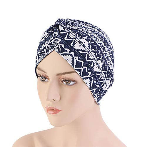 New Women's Cotton Turban Flower Prints Beanie Head Wrap Chemo Cap Hair Loss Hat Sleep Cap (Navy) (Best Beanie For Small Head)