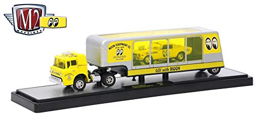 1964 Ford C-950 Truck (Bright Yellow) & 1966 Ford Mustang Fastback 2+2 (Bright Yellow w/Black Stripe) - Auto-Haulers Mooneyes Release 1 - 2018 Castline 1:64 Scale Die-Cast Set (MOON01 18-07)