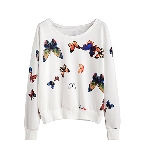 Butterfly Hooded Pullover - rocicaS Clearance Women's Long Sleeve Solid Butterfly Print Hoodies Sweatshirt Jumper Shirts Blouses Tops Sweaters S-XL