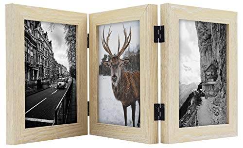 Frametory, 5x7 Inch Hinged Picture Frame with Glass Front - Made to Display Three 5x7 Inch Pictures, Stands Vertically on Desktop or Table Top (5x7 Triple, Natural) (Triple Hinge Frame)