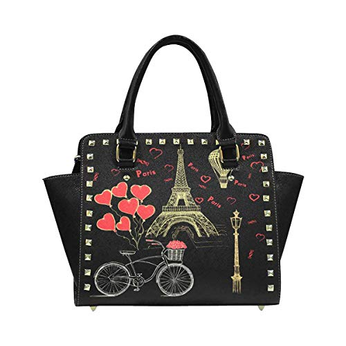 InterestPrint Set of Hand Drawn French Icons Paris Bag Tote Purse Messenger Bags for Women Ladies Girls (French Purse Personalized Leather)
