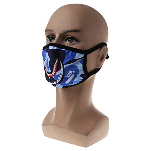 ANTIMOUCE&FM Unisex Hip Hop Trendy Half Face Mouth Mask Shark Colorful Camouflage Earloop Elastic Anti-Dust Protective Sky Blue