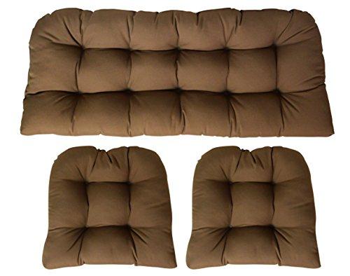 Sunbrella Canvas Chestnut Large 3 Piece Wicker Cushion Set - Indoor / Outdoor Wicker Loveseat Settee & 2 Matching Chair ()
