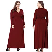 Women's Solid V-Neck Long Sleeve Plus Size Evening Party Maxi Dress
