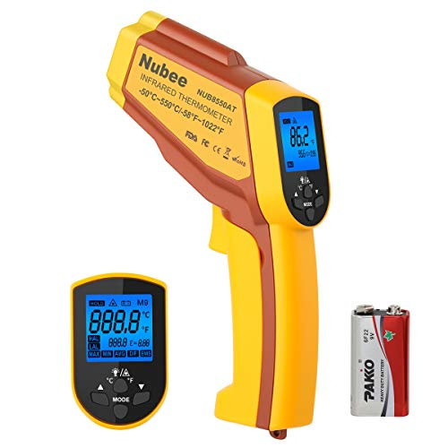 (Nubee NUB8550AT Dual Laser Digital Infrared Thermometer -58°F~ 1022°F (-50°C ~ 550°C) with Adjustable EMS & Data Memory & Max/Min/AVG/DIF/HAL/LAL for Cooking Meat Kitchen Refrigerator Pool)
